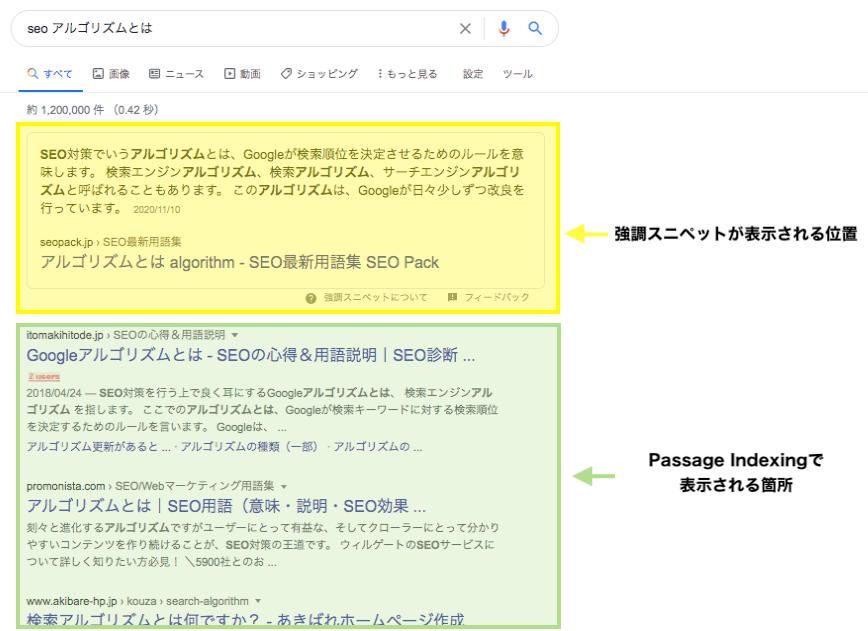 強調スニペットとPassege indexの検索結果内の位置の違い
